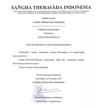 20140104 Keluarkan Pernyataan Resmi, Sangha Theravada Indonesia Nyatakan Tidak Ada Kerjasama dengan Dhammakaya_2