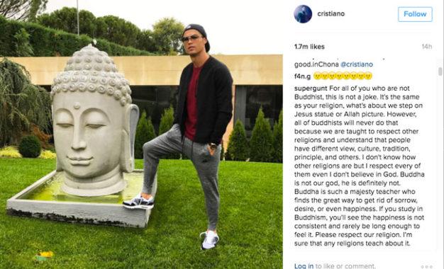 Pose Cristiano Ronaldo di Instagram Picu Protes Umat Buddha