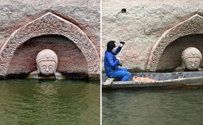Patung Buddha Raksasa Ini Muncul Saat Air Danau Surut