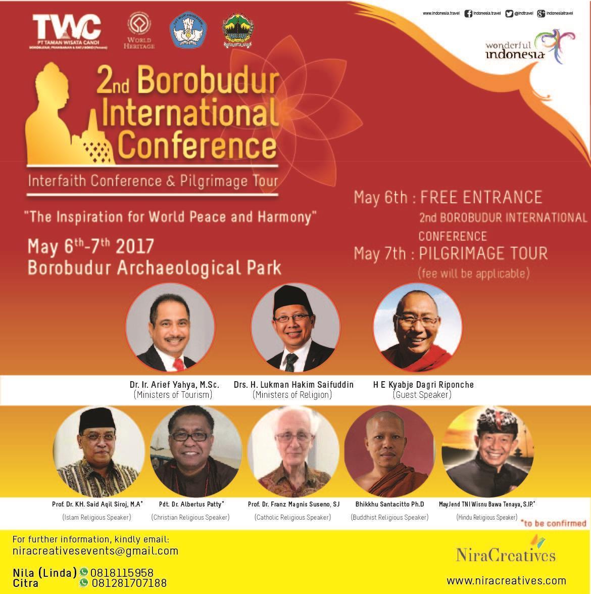 """Konferensi Borobudur Internasional II, """"Inspirasi untuk Keharmonisan & Perdamaian Dunia"""""""