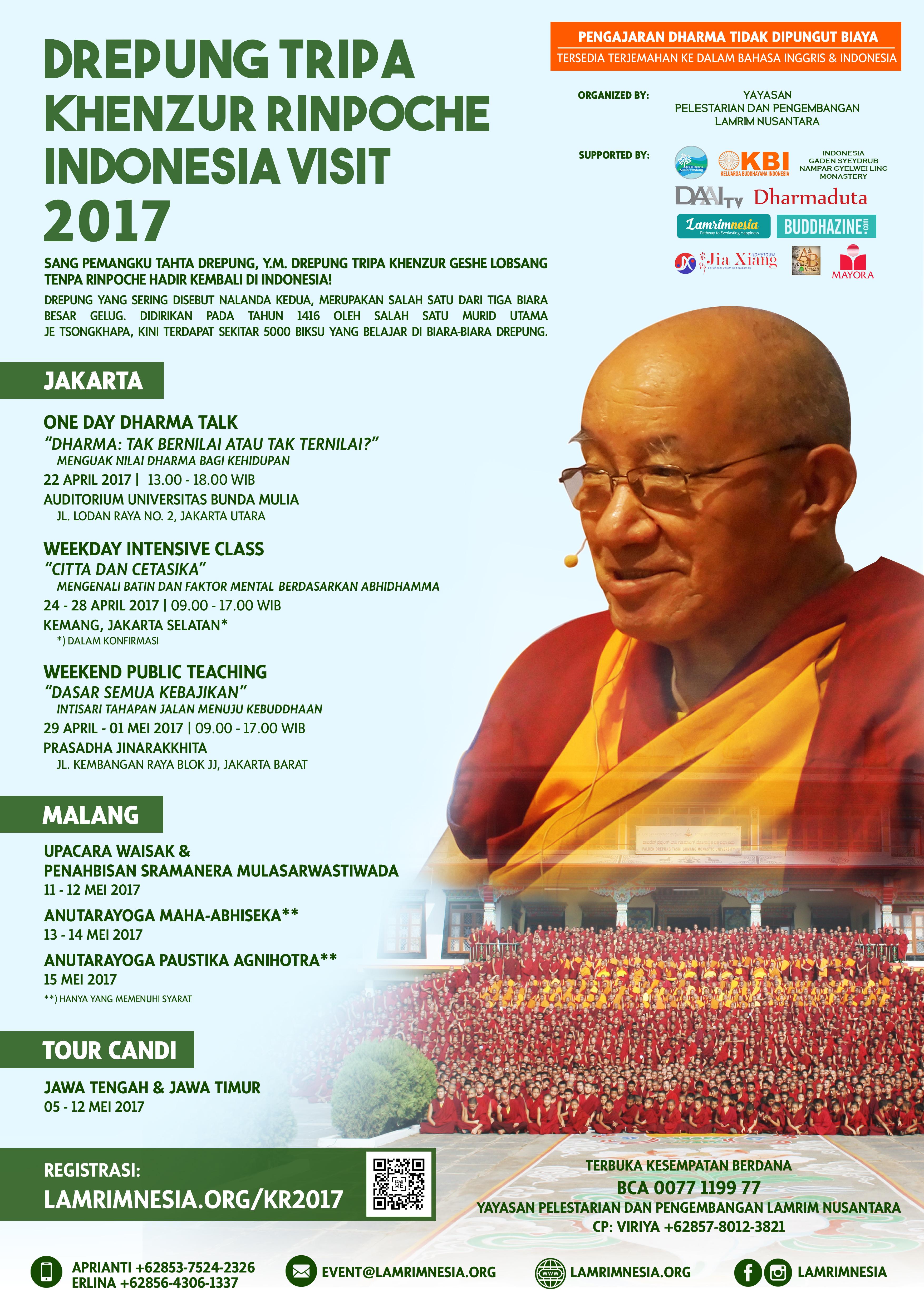 Drepung Tripa Khenzur Rinpoche Indonesia Visit 2017