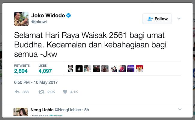 Presiden Joko Widodo Ucapkan Selamat Hari Raya Waisak Melalui Twitter