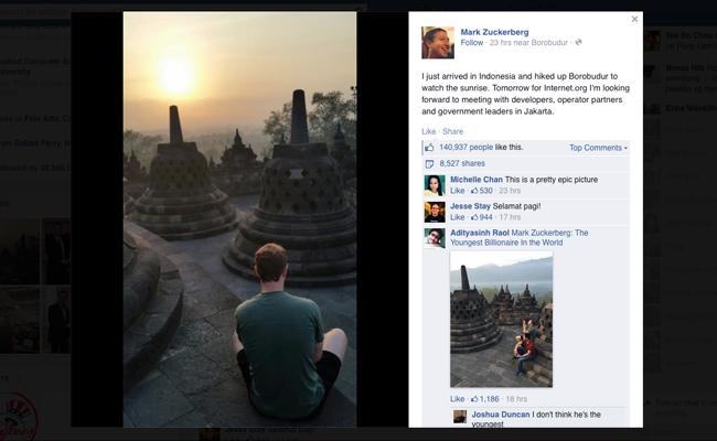 Pendiri Facebook Nikmati Keindahan Sunrise di Candi Borobudur