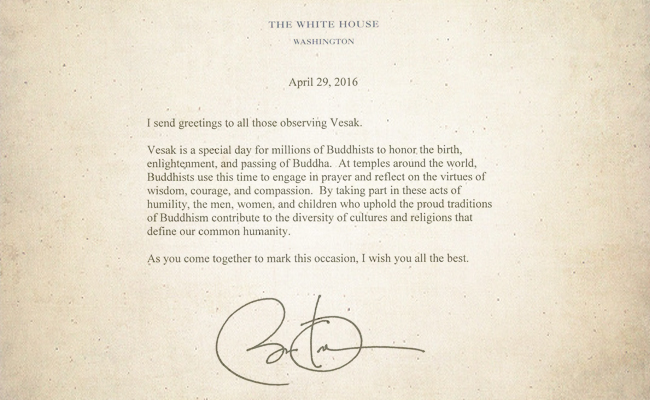 Presiden Barack Obama Ucapkan Selamat Waisak