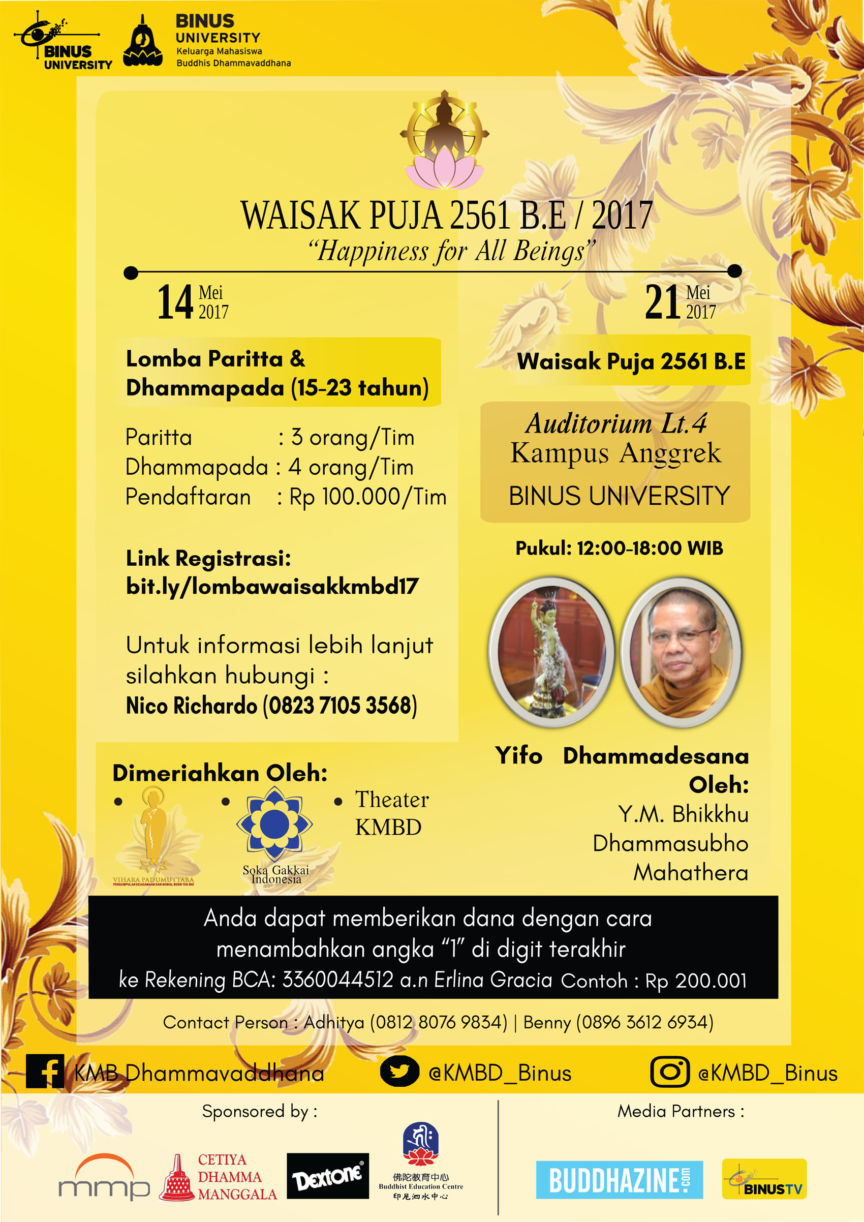 "Waisak Puja 2561 B.E/2017, ""Happiness for All Beings"""
