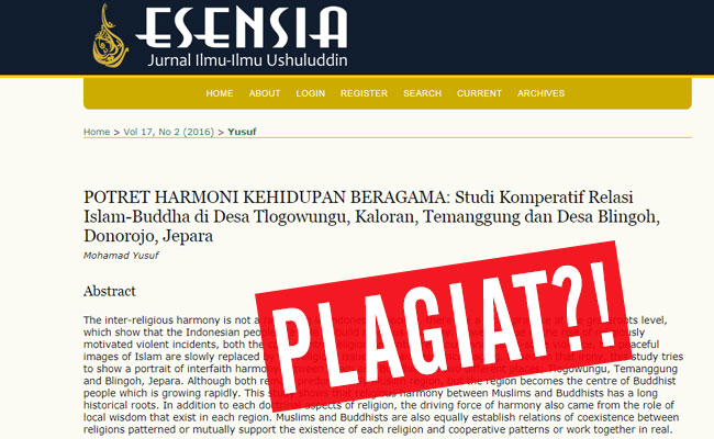 Plagiat?! Surat untuk Pengelola ESENSIA Jurnal Ilmu-Ilmu Ushuluddin